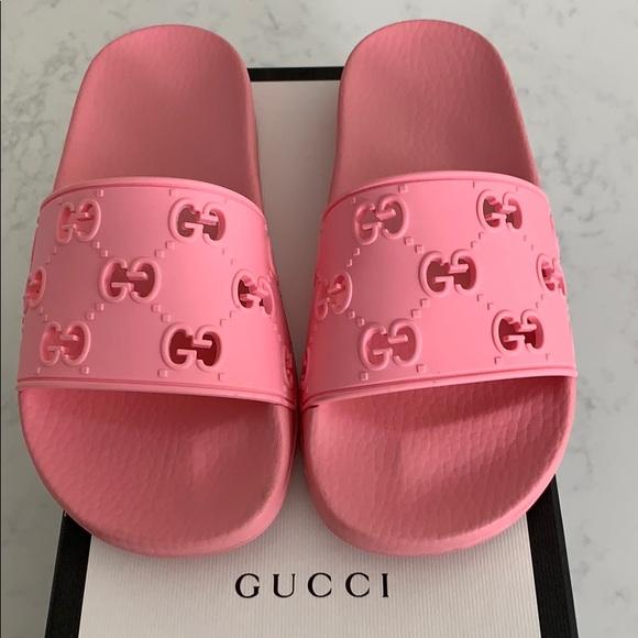 Gucci Rubber Gg Slide Pink Sandals